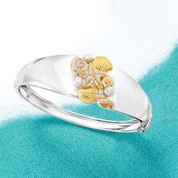 4-5mm Cultured Pearl and .10 ct. t.w. White Topaz Sea Life Bangle Bracelet in Sterling Silver and 18kt Gold Over Sterling