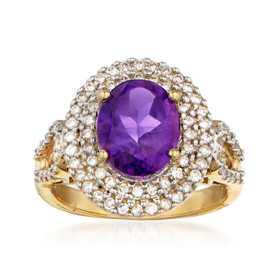 2.40 Carat Amethyst and .60 ct. t.w. Diamond Ring in 14kt Yellow Gold
