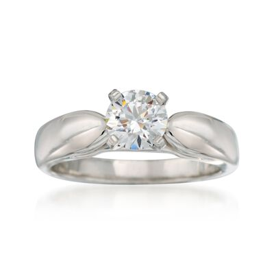 14kt White Gold Cathedral Engagement Ring Setting, , default