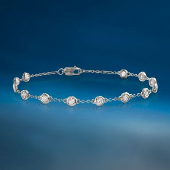 "1.00 ct. t.w. Bezel-Set Diamond Station Bracelet in 14kt White Gold. 7"", , default"