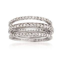 1.35 ct. t.w. Diamond Jewelry Set: Three Eternity Bands in Sterling Silver. Size 5, , default