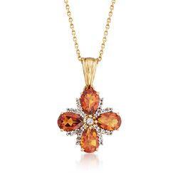 "2.60 ct. t.w. Citrine and .28 ct. t.w. White Topaz Floral Pendant Necklace in 18kt Gold Over Sterling. 18"", , default"