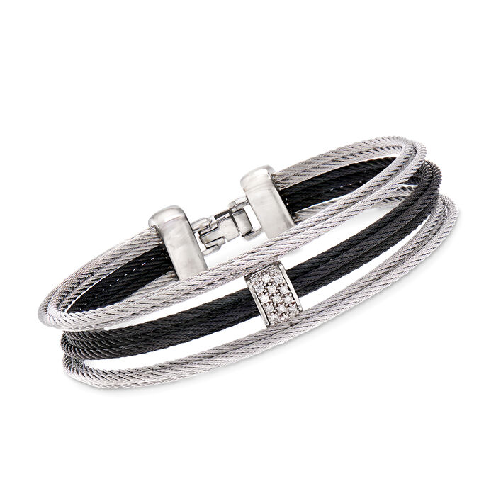 "ALOR ""Noir"" Black and Gray Stainless Steel Cable Bracelet with Diamond Accents. 7"", , default"