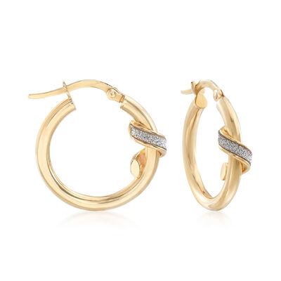 Italian 14kt Yellow Gold Ribbon Wrapped Hoop Earrings , , default