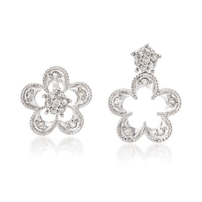 .25 ct. t.w. Diamond Flower Convertible Earrings in Sterling Silver