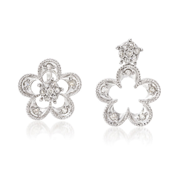 .25 ct. t.w. Diamond Flower Convertible Earrings in Sterling Silver, , default
