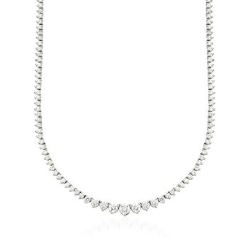 "5.00 ct. t.w. Graduated Diamond Tennis Necklace in 14kt White Gold. 16"", , default"