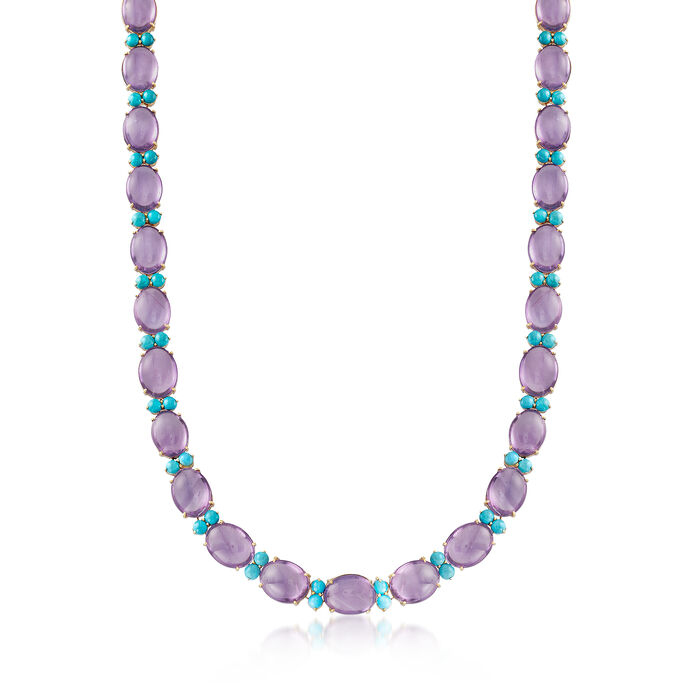 C. 1950 Vintage Cabochon Amethyst and Turquoise Beaded Necklace in 18kt Yellow Gold, , default