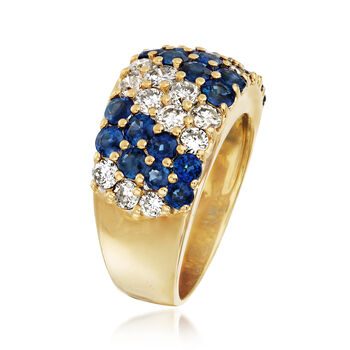 C. 1980 Vintage 1.92 ct. t.w. Sapphire and 1.41 ct. t.w. Diamond Diagonal Striped Ring in 18kt Yellow Gold. Size 6, , default