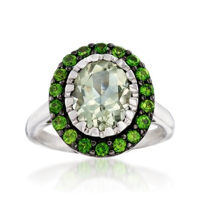2.40 Carat Green Prasiolite and .70 ct. t.w. Green Chrome Diopside Ring in Sterling Silver, , default