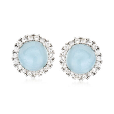 8.00 ct. t.w. Aquamarine and 1.90 White Topaz Earrings in Sterling Silver