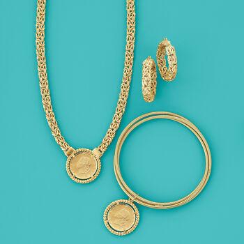 Italian 18kt Gold Over Sterling Replica Lira Coin Rolling Bangle Bracelet, , default