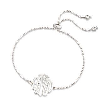 Sterling Sterling Small Monogram Box Chain Bolo Bracelet , , default