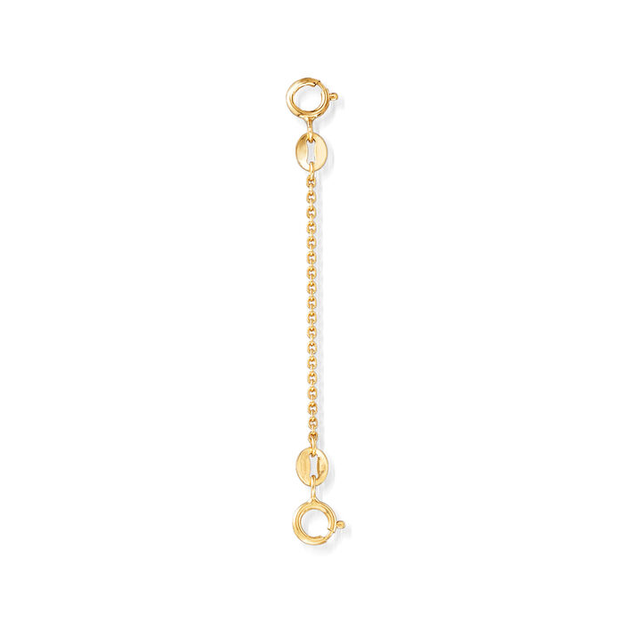 "1.1mm 14kt Yellow Gold 2"" Cable Safety Chain"
