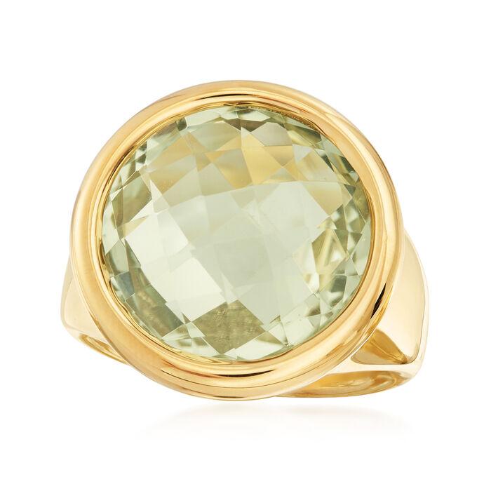 Italian Andiamo 14kt Yellow Gold and 13.00 Carat Prasiolite Ring