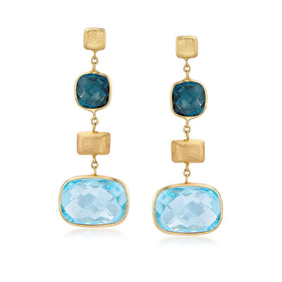 Italian 11.80 ct. t.w. London Blue Topaz Drop Earrings in 14kt Yellow Gold, , default