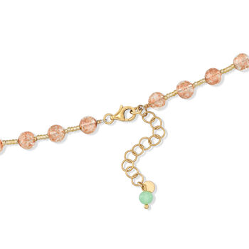 """Italian Floral Murano Glass Bead Necklace with 18kt Gold Over Sterling. 18"""", , default"""