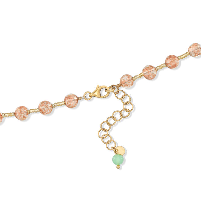 Italian Floral Murano Glass Bead Necklace with 18kt Gold Over Sterling