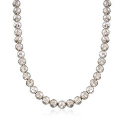"Italian 9.5-10mm Sterling Silver Hammered Bead Necklace. 18"", , default"