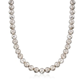 """Italian 9.5-10mm Sterling Silver Hammered Bead Necklace. 18"""", , default"""