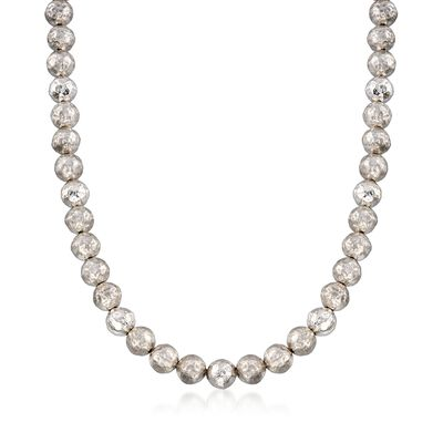 Italian 9.5-10mm Sterling Silver Hammered Bead Necklace, , default