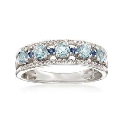 .40 ct. t.w. Aquamarine and .13 ct. t.w. Diamond Ring with Sapphire Accents in Sterling, , default