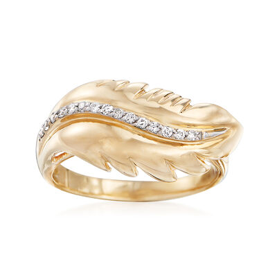 .10 ct. t.w. Diamond Feather Ring in 14kt Yellow Gold, , default