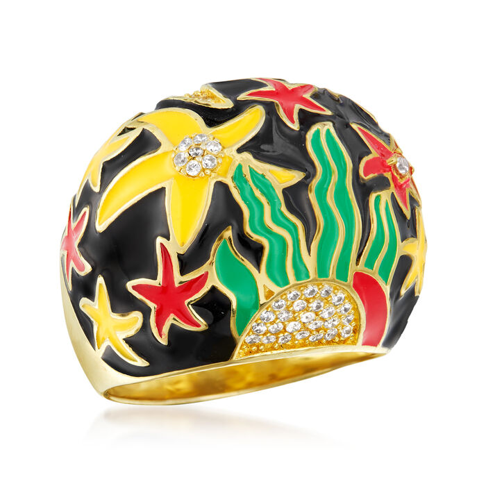 .33 ct. t.w. White Topaz and Multicolored Enamel Starfish Ring in 18kt Gold Over Sterling