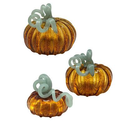 Mariposa Amber Glass Pumpkin