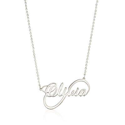 Sterling Silver Script Name Infinity-Style Necklace, , default