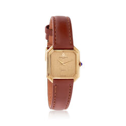 C. 1980 Vintage Baume and Mercier Women's 22mm 18kt Yellow Gold Watch With Brown Leather, , default