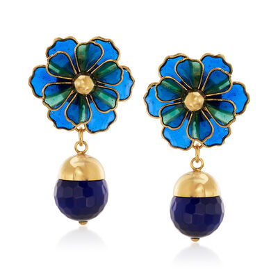 Italian Cathedral Enamel Flower and 14mm Glass Bead Drop Earrings in 18kt Gold Over Sterling, , default