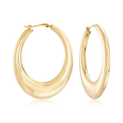 14kt Yellow Gold Tapered Oval Hoop Earrings, , default