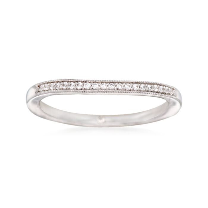 Gabriel Designs 14kt White Gold Curved Wedding Ring with Diamond Accents. Size 9