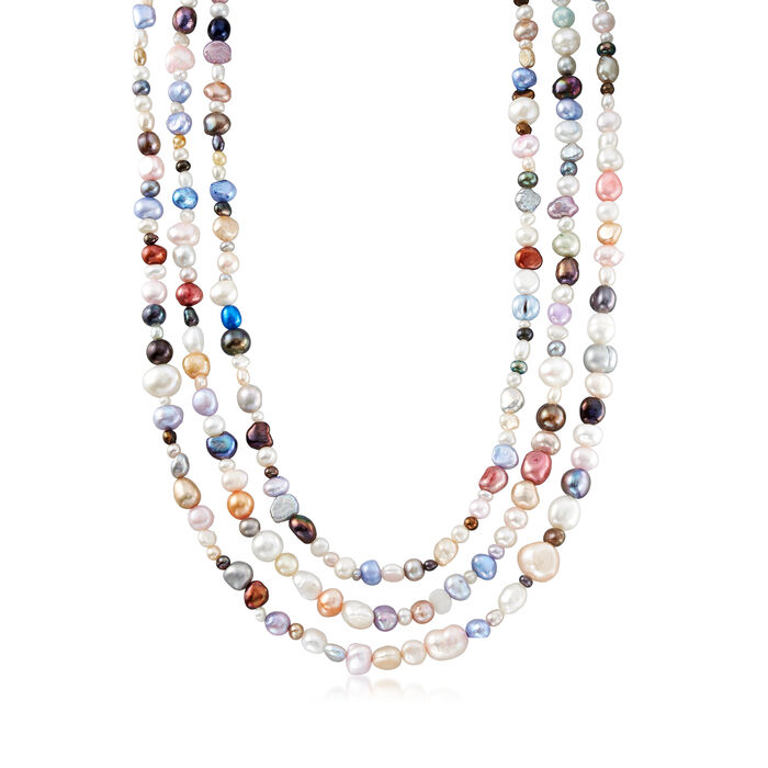 4-8mm Multicolored Cultured Pearl Jewelry Set: Four Bracelets and Necklace