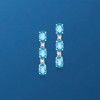 4.10 ct. t.w. Apatite and .17 ct. t.w. White Zircon Drop Earrings in Sterling Silver, , default