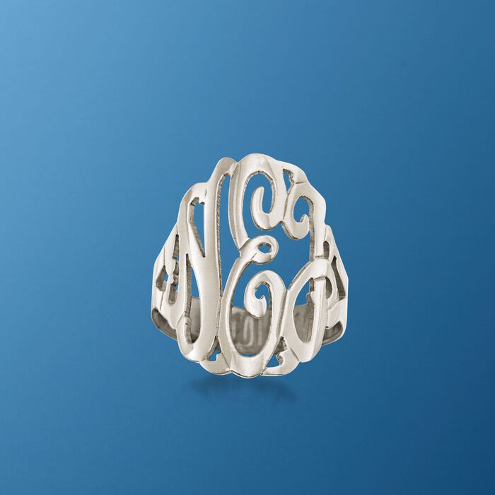 Sterling Silver Open Script Monogram Ring