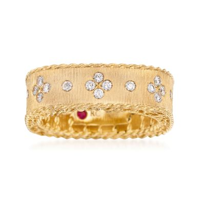 "Roberto Coin ""Princess"" .32 ct. t.w. Diamond Square Ring in 18kt Yellow Gold"