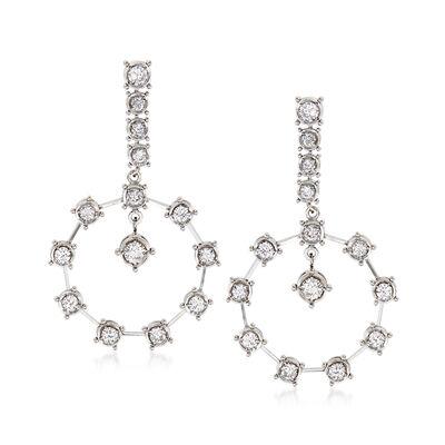 C. 1980 Vintage 1.55 ct. t.w. Diamond Drop Earrings in 14kt White Gold, , default