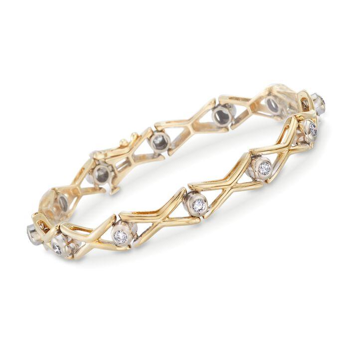 "C. 1990 Vintage .90 ct. t.w. Diamond Bracelet in 14kt Yellow Gold. 7"", , default"