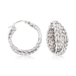 "Sterling Silver Multi-Twist Crisscross Hoop Earrings. 7/8"", , default"