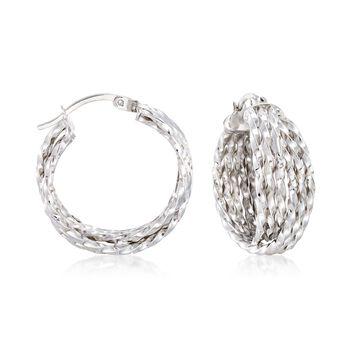 """Sterling Silver Multi-Twist Crisscross Hoop Earrings. 7/8"""", , default"""