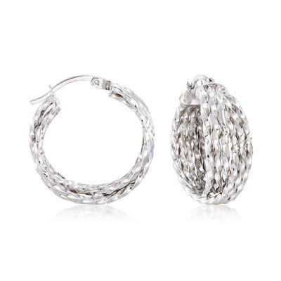 Sterling Silver Multi-Twist Crisscross Hoop Earrings, , default
