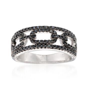 .50 ct. t.w. Black Spinel Open Link Design Ring in Sterling Silver, , default