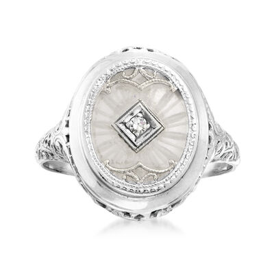 C. 1950 Vintage Rock Crystal Ring with Diamond Accent in 14kt White Gold, , default