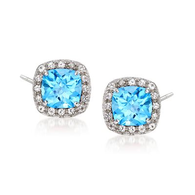 .40 ct. t.w. Blue and White Topaz Stud Earrings in Sterling Silver, , default