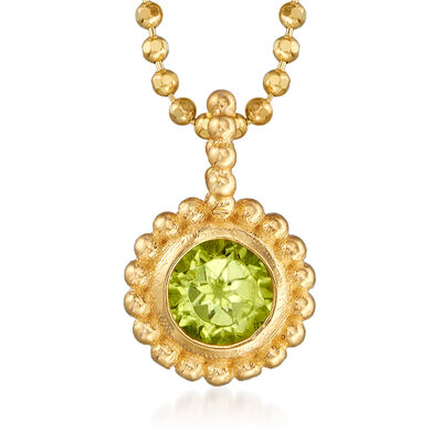 "Phillip Gavriel ""Popcorn"" .20 Carat Peridot Beaded Pendant Necklace in 14kt Yellow Gold, , default"