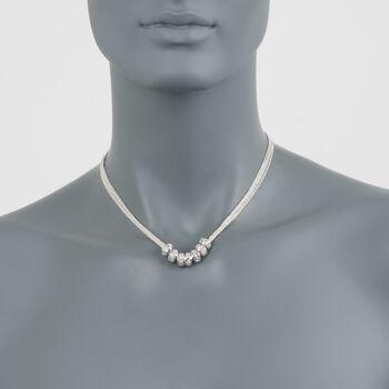 .15 ct. t.w. Diamond Barrel Bead Necklace in Sterling Silver, , default