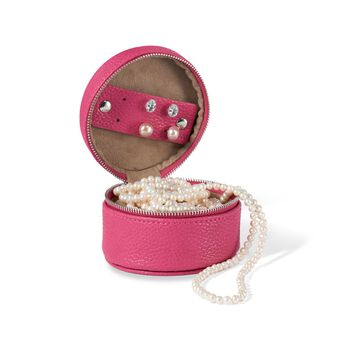Magenta Faux Leather Round Travel Jewelry Box, , default