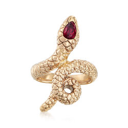 .60 Carat Rhodolite Snake Ring in 14kt Yellow Gold, , default